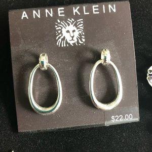 Anne Klein silver earrings pierced ears